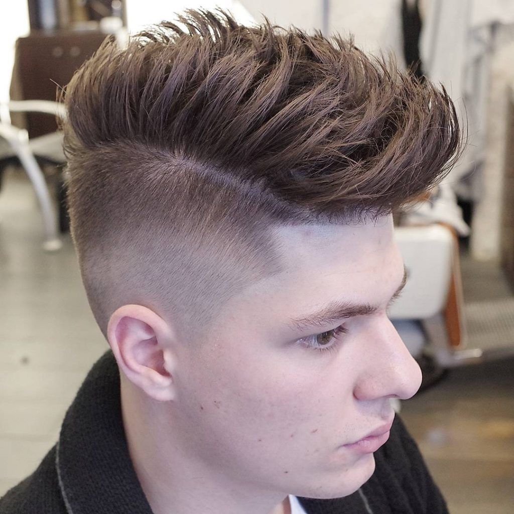 The Pomp Skin Fade with Side Part