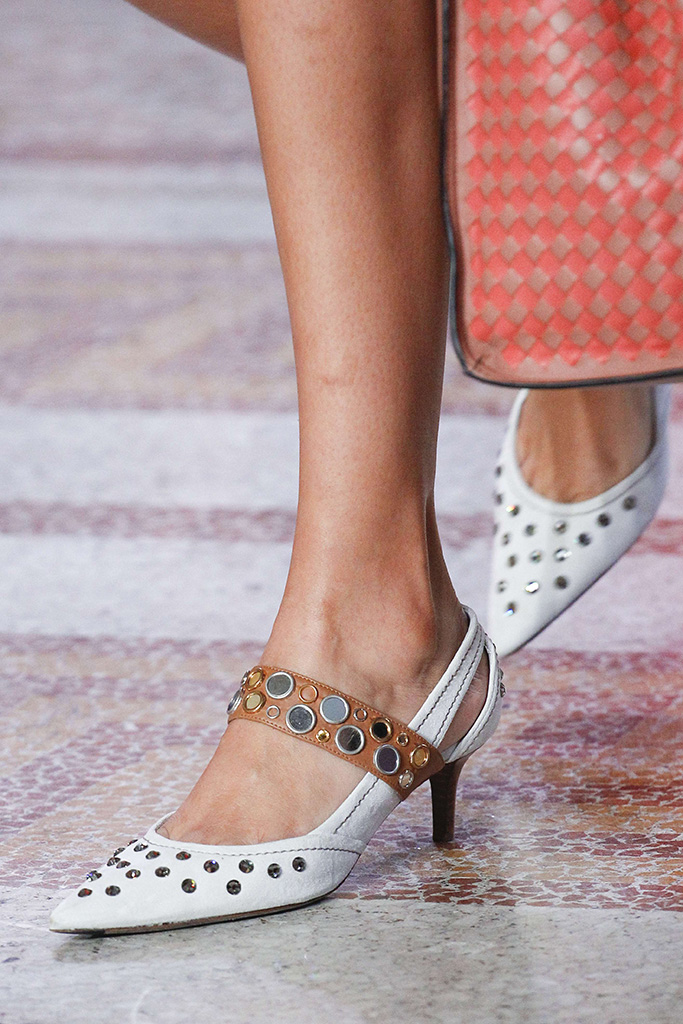 Model on the catwalk, shoe detailBottega Veneta show, Detail, Spring Summer 2018, Milan Fashion Week, Italy - 23 Sep 2017