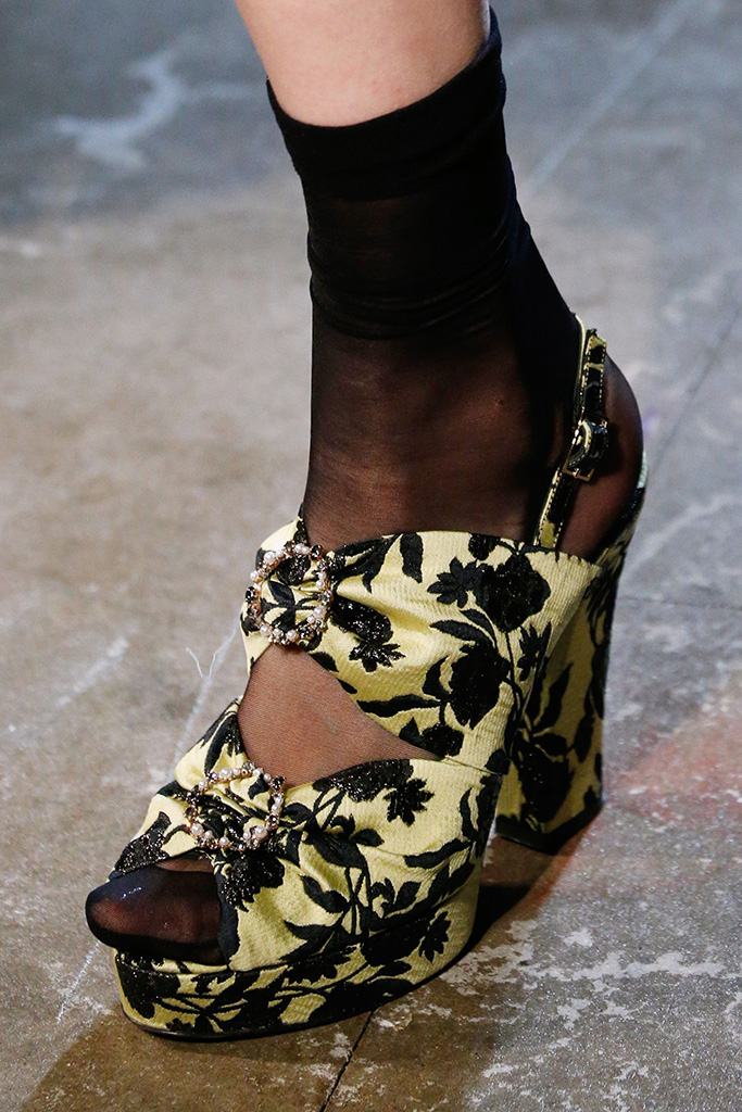 Model on the catwalk, shoe detailErdem show, Detail, Spring Summer 2018, London Fashion Week, UK - 18 Sep 2017