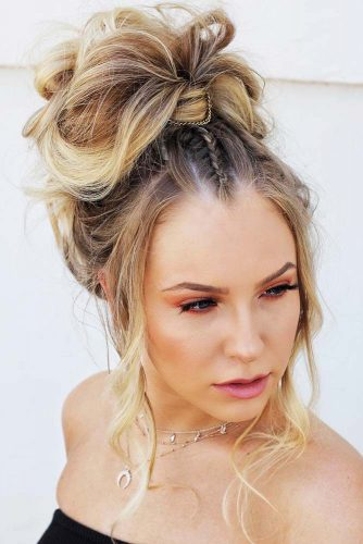 Romantic Messy Braided Hairstyles Ponytail #braids #ponytail