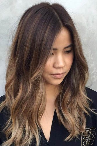 Choppy Layers with Dark Brown Balayage Tones for Medium Hair