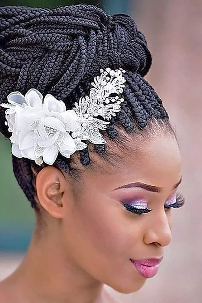 Wedding hairstyle with a braided bun