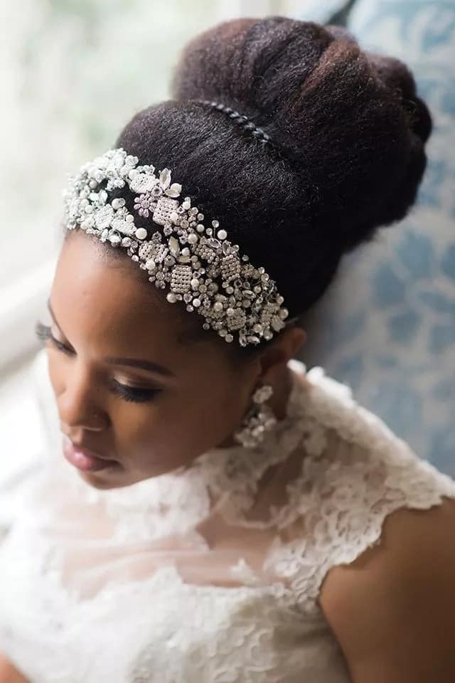 Wedding hairstyle with a bun
