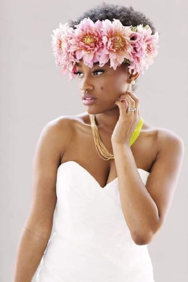 Wedding hairstyle with a wreath