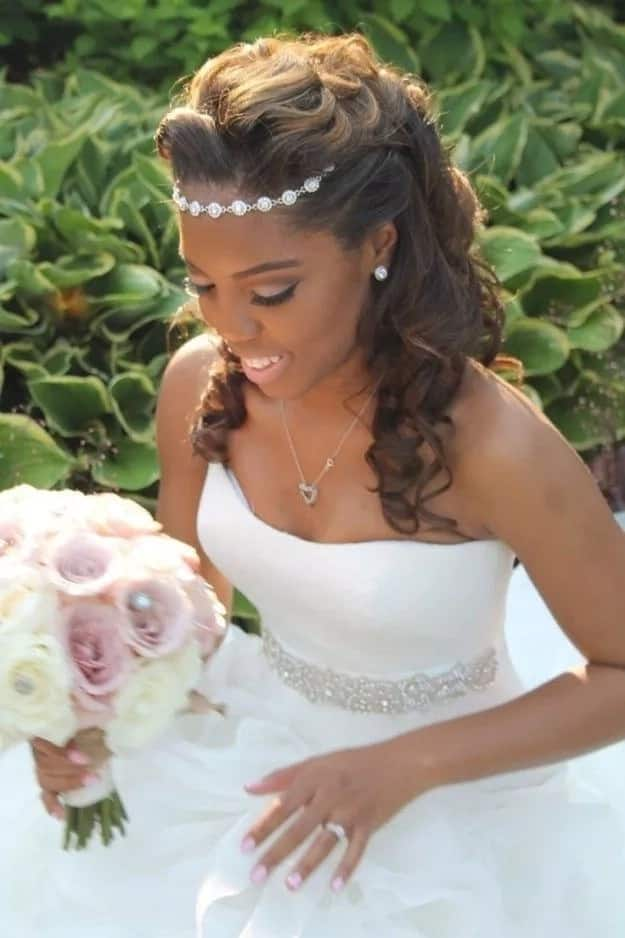 Wedding hairstyle with curls for long hair