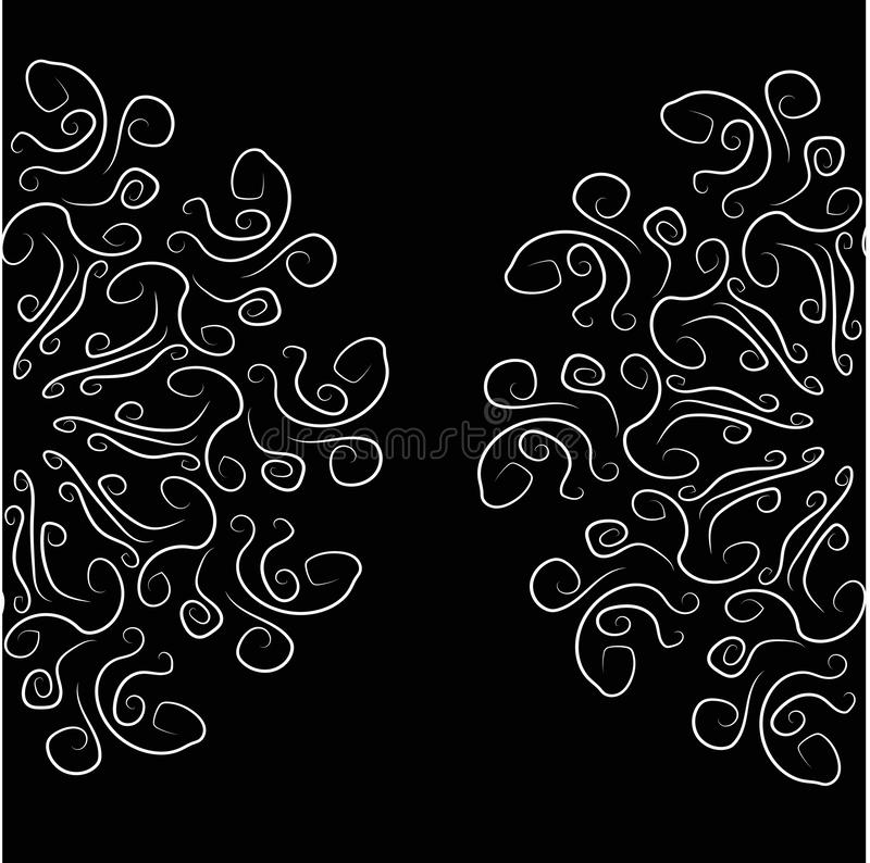 Abstract illustration of the curls white on black royalty free illustration