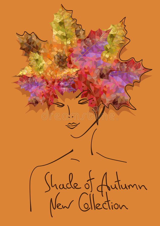 Autumn background with outline portrait of girl. Fashion outline portrait of girl with hairstyle made of leaves. Autumn background vector illustration