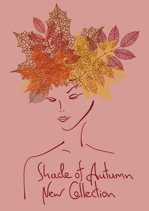 Autumn background with outline portrait of girl. Fashion outline portrait of girl with hairstyle made of leaves. Autumn background royalty free illustration