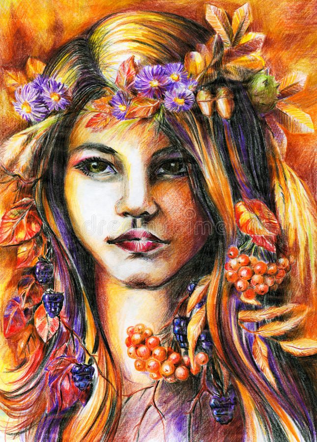 Autumn girl. Beautiful autumn girl with wreath on her head.Picture I have created with colored pencils stock illustration