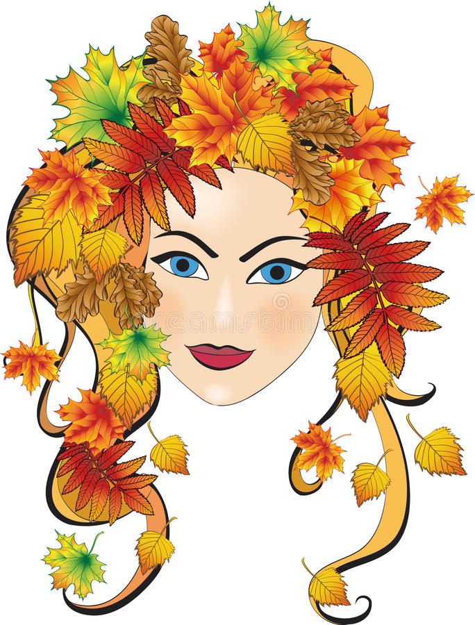Autumn girl. Beautiful autumn girl with leafs in hair. Illustration for design vector illustration
