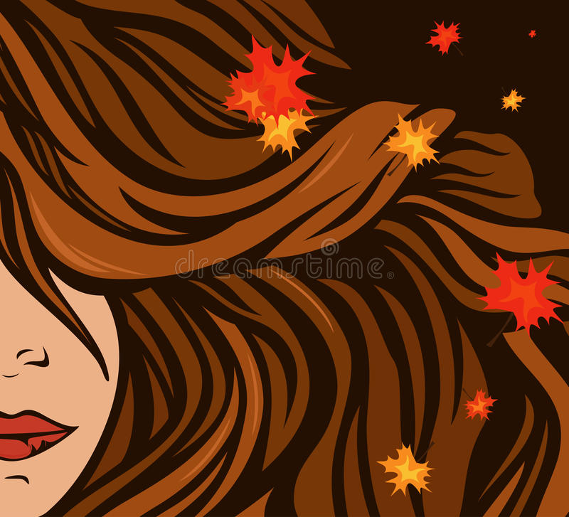 Autumn hairstyle vector. Autumn hair with maple leaves - beauty background vector illustration