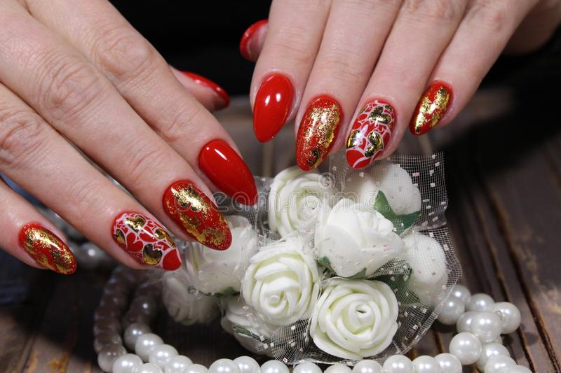 beautiful red manicure royalty free stock image