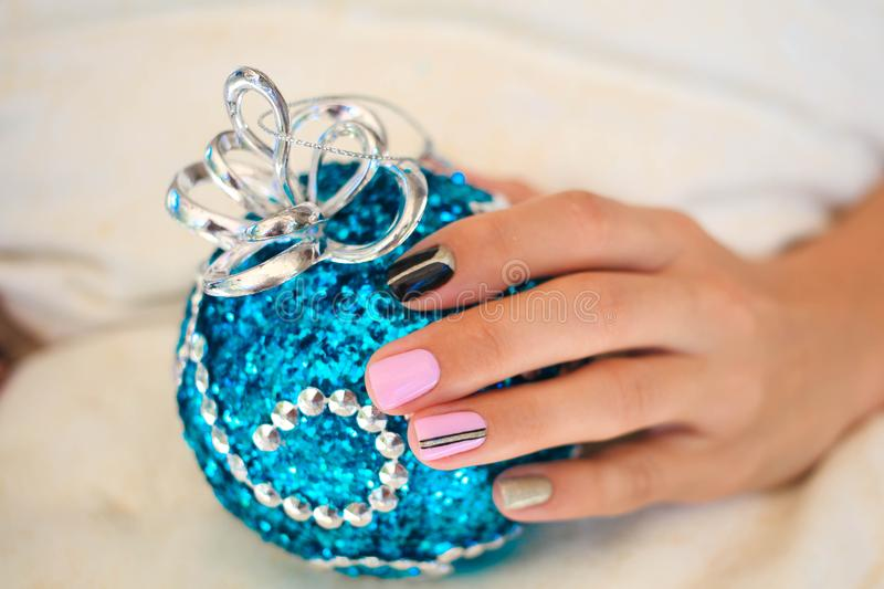 Beautiful winter manicure stock images