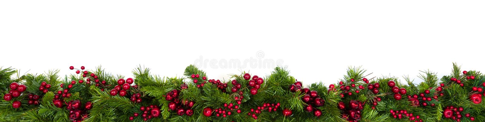 Christmas Garland Border with Red Berries Over White royalty free stock image