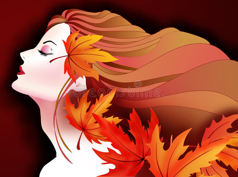 Color me Orange-Autumn Girl. Orange is synonymous with autumn. Featuring a Beautiful autumn girl with falling autumn leves in different shades of orange color vector illustration