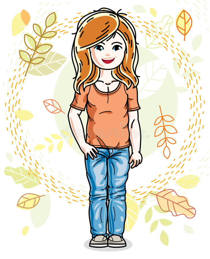 Cute happy little red-haired girl posing on background of autumn. Landscape and wearing fashionable casual clothes. Vector character royalty free illustration