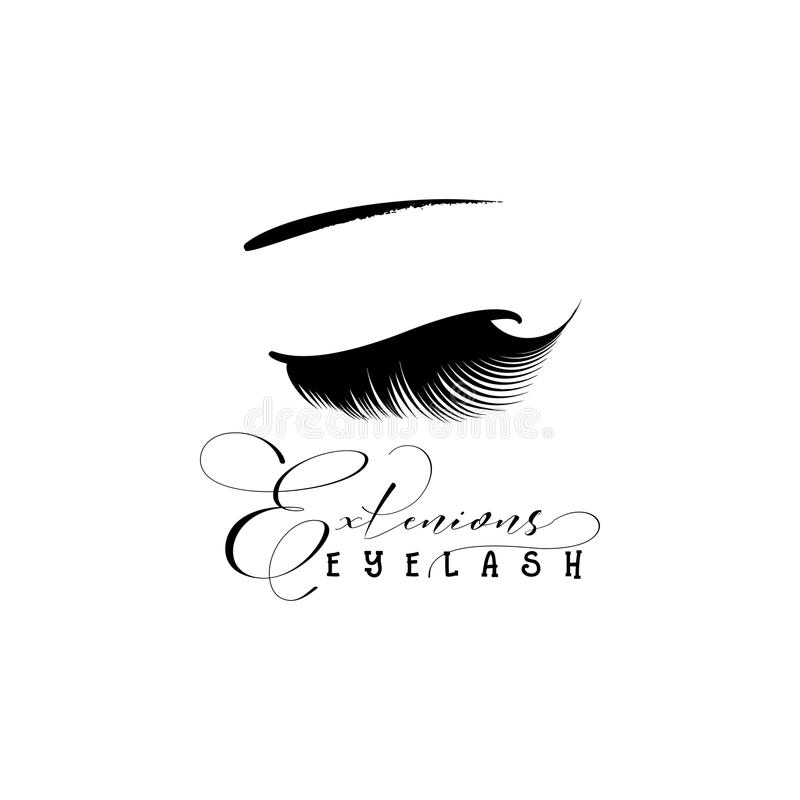 Eyelash extension banner. Template for Makeup and cosmetic procedures. Web element for social networks or badge for stock illustration