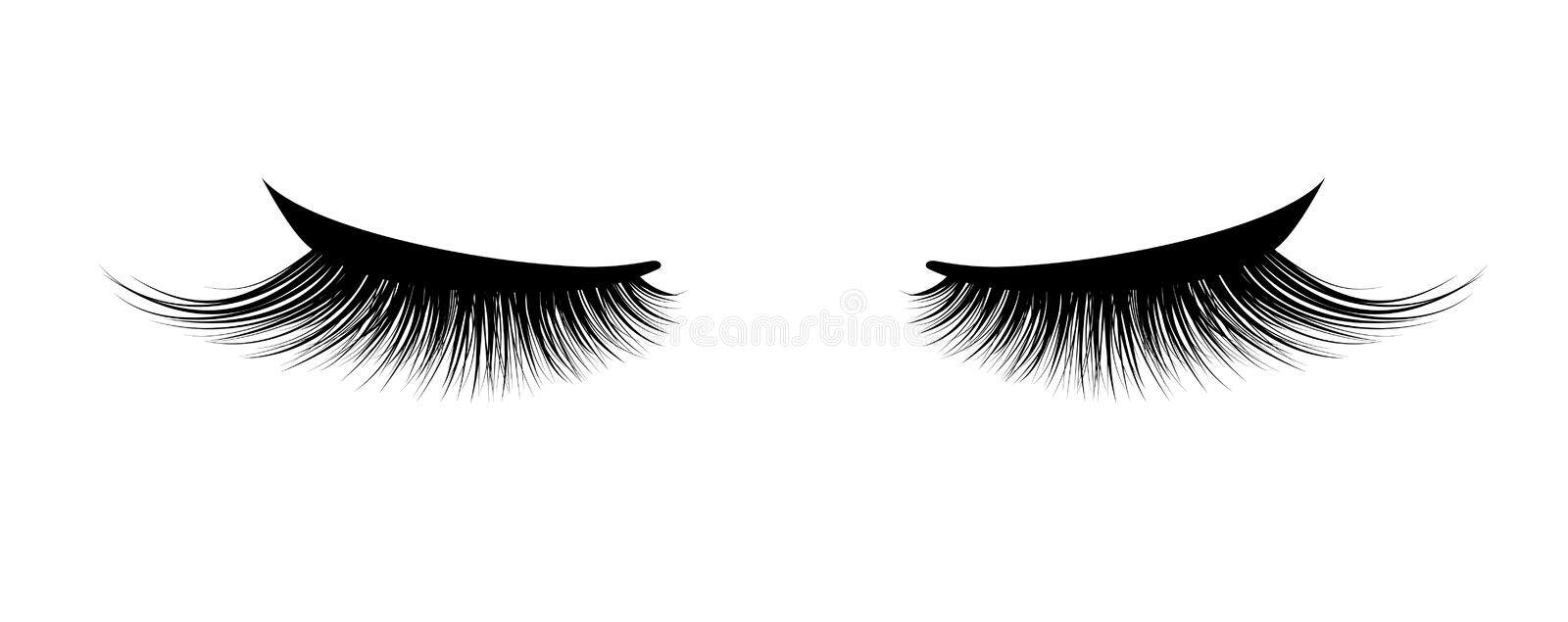 Eyelash extension. A beautiful make-up. Thick cilia. Mascara for volume and length. royalty free illustration