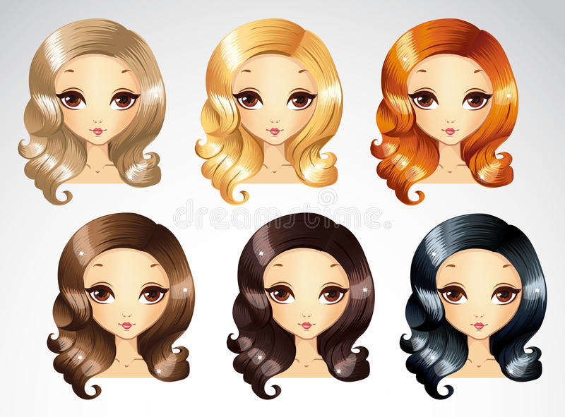 Fashion Evening Curls Hairstyling Set royalty free illustration