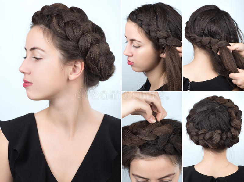 Fashionable braid hairstyle tutorial. Process of weaving braid. Hairstyle for long hair. Boho style. Hairstyle volume braided crown tutorial step by step stock photo