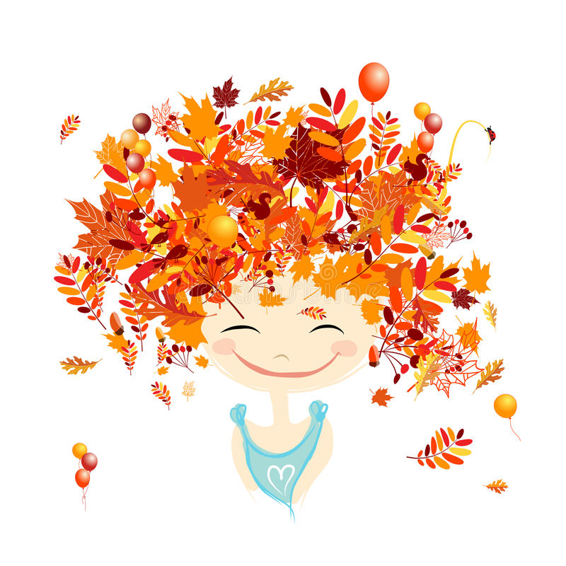 Female portrait with autumn hairstyle for your. Design. Vector illustration royalty free illustration