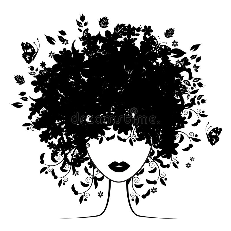 Floral hairstyle. Silhouette, vector illustration stock illustration