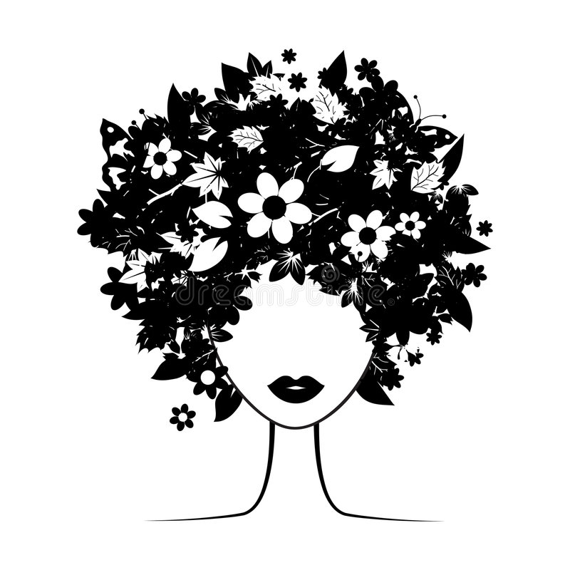 Floral hairstyle. Black for your design royalty free illustration