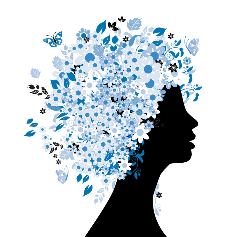Floral hairstyle. Silhouette, vector illustration vector illustration