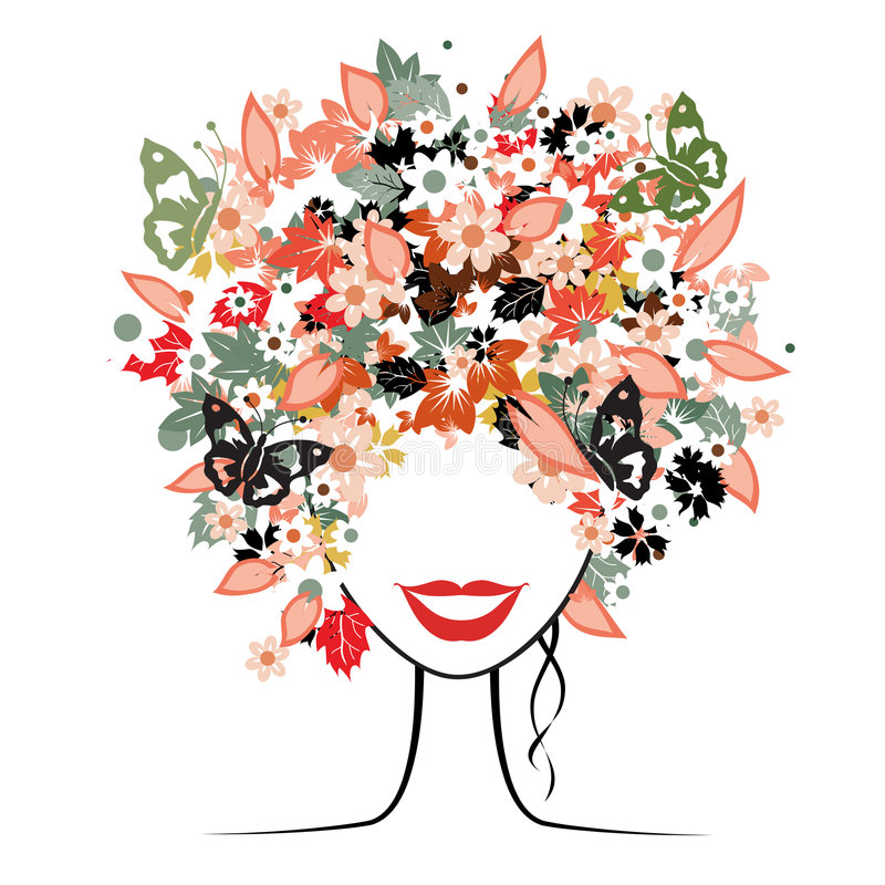 Floral hairstyle, woman. Floral hairstyle, beautiful woman for your design vector illustration