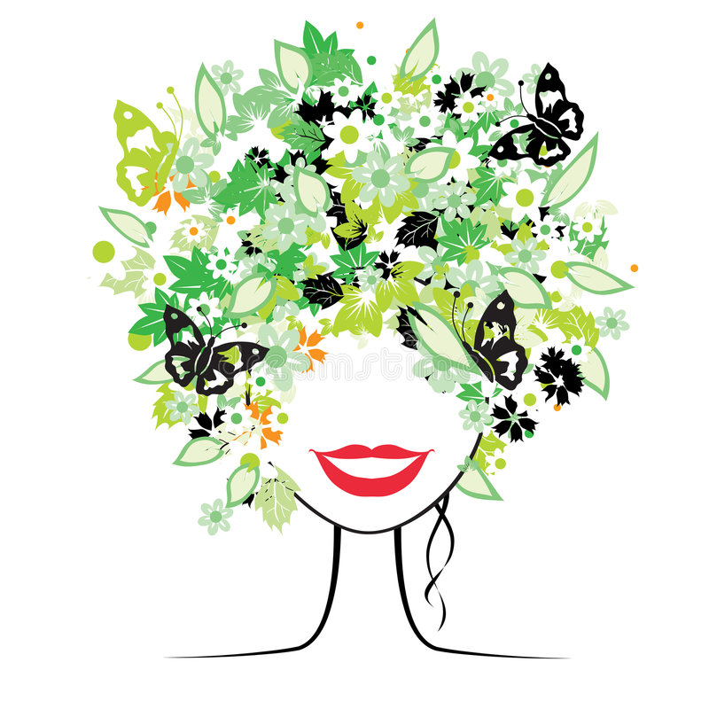 Floral hairstyle, woman. Floral hairstyle, beautiful woman for your design stock illustration
