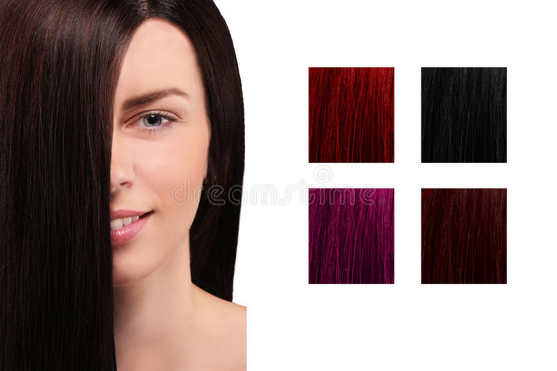 Hair color table with a smiling girl royalty free stock photos