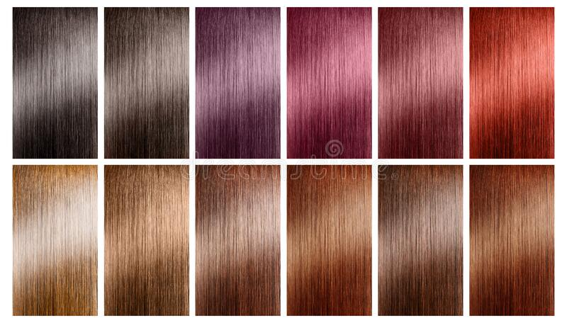 Hair tints colors set palette on white background royalty free stock image