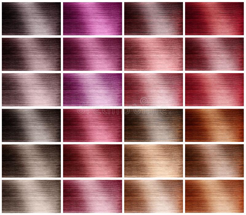 Hair tints colors set palette on white background royalty free stock photo