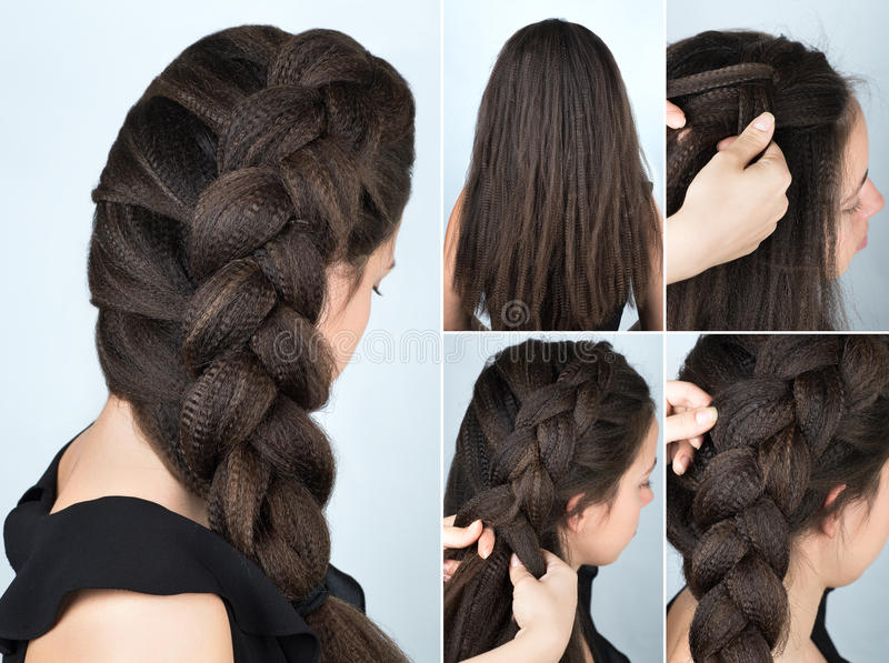 Hairstyle braid to one side tutorial. Hairstyle volume braid to one side tutorial. Hairstyle for long hair. Hairstyle tutorial. Hairstyle for rippled hair stock images