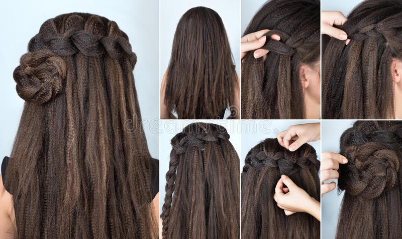 Hairstyle braided rose tutorial. Step by step. Hairstyle for long hair. Simple hairstyle for long and medium loose hair tutorial. Braided hairstyle. Hair stock photography