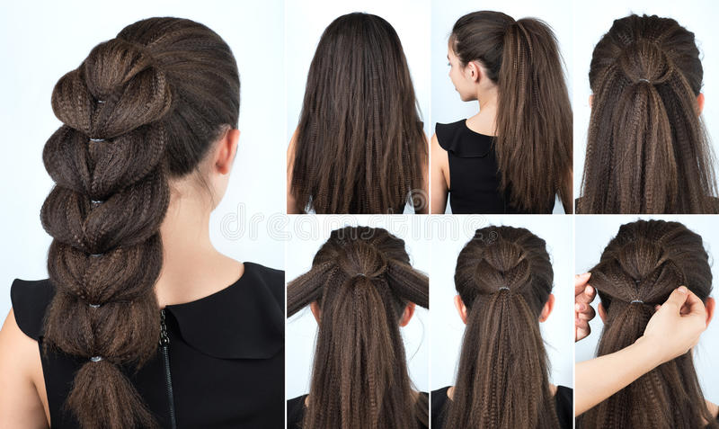 Hairstyle festive braid tutorial. Hair tutorial. Festive hairstyle voluminous braid tutorial. Backstage technique of weaving plait. Hairstyle. Pull through braid royalty free stock images