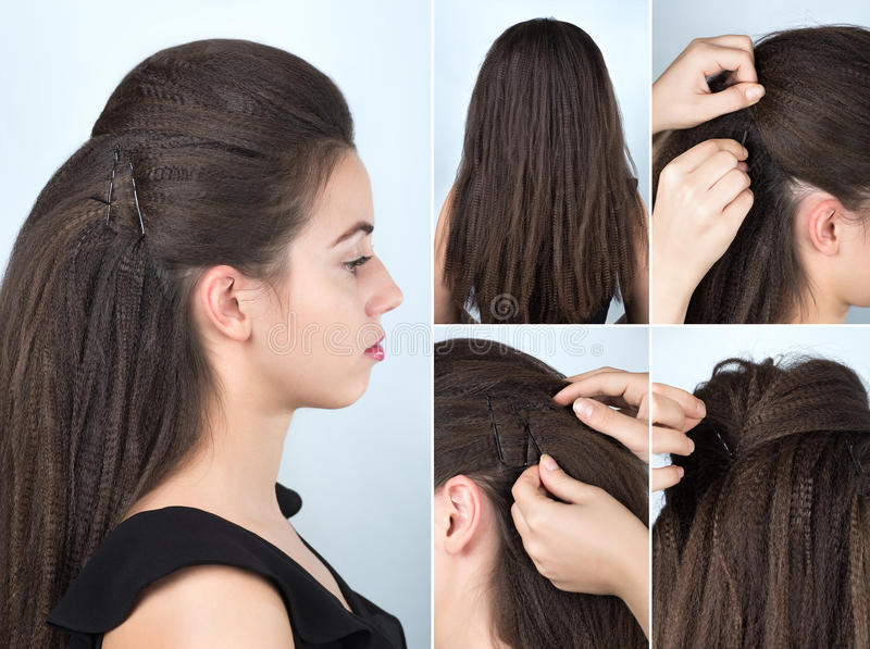 Hairstyle with pins for curly hair tutorial. Fashionable volume hairstyle with ripple curly hair. Hairstyle for long hair. Hairstyle tutorial. Hairstyle with stock images