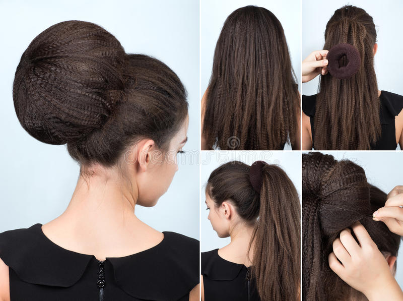 Hairstyle tutorial bun with chignon. Hairstyle tutorial volume bun with chignon. Hairstyle tutorial for long hair. Hairstyle bun. Tutorial. Hair model. Hairstyle royalty free stock image