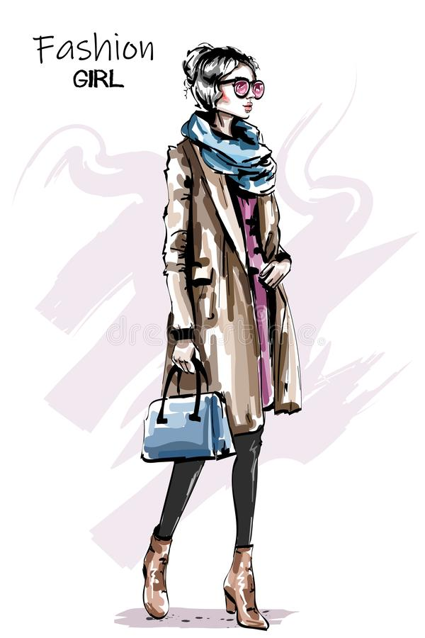 Hand drawn beautiful young woman in coat. Stylish elegant girl autumn outfit. Fashion woman full body portrait. Sketch royalty free illustration