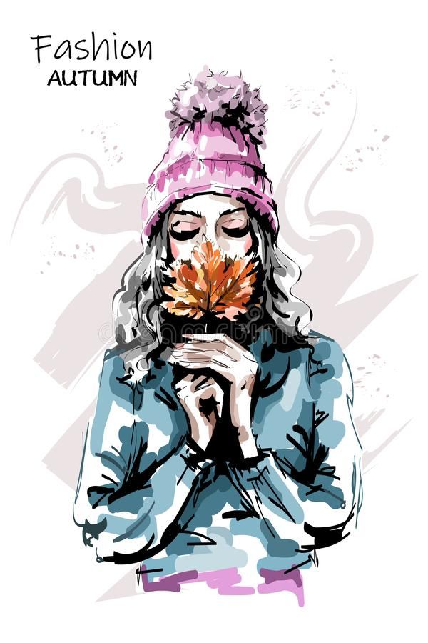 Hand drawn beautiful young woman holding autumn leaf. Stylish elegant girl. Fashion woman portrait. Sketch vector illustration