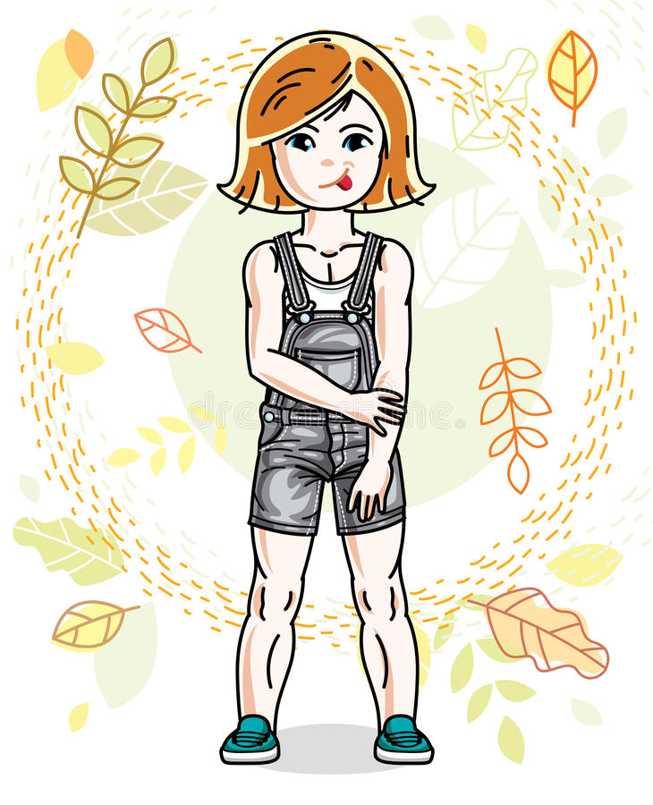 Little red-haired girl toddler standing on background of autumn. Landscape and wearing fashionable casual clothes. Vector attractive kid illustration. Fashion vector illustration