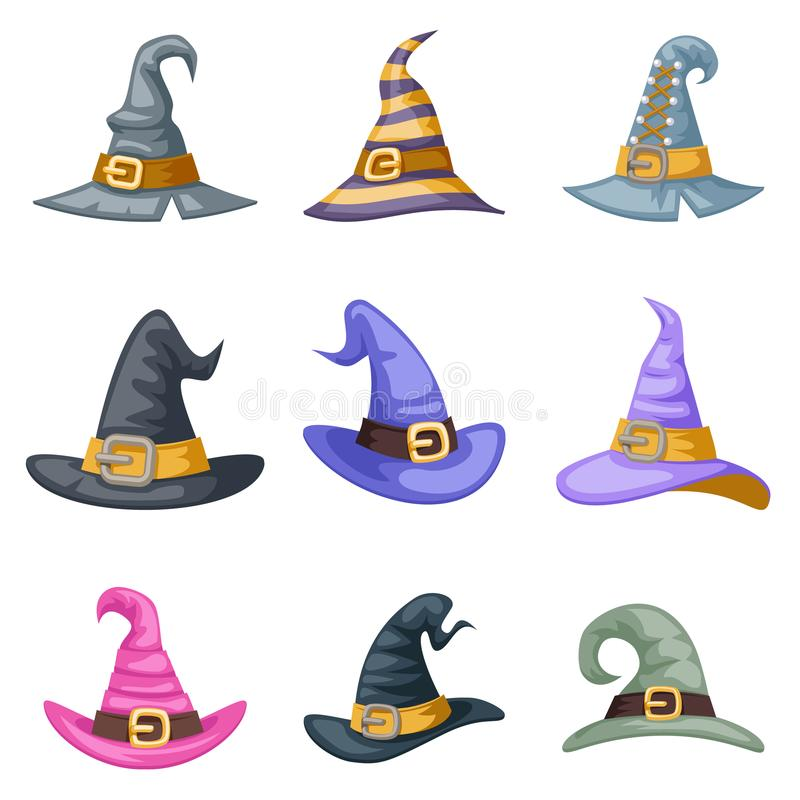 Masquerade artoon witch hat halloween children costume kid party icons set vector illustration stock illustration