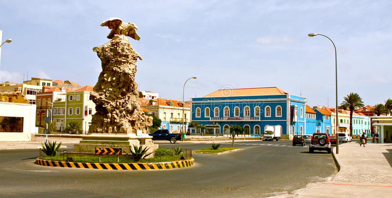 Mindelo square. Square in the Mindelo bay in the island of Sao Vincente in the archipelago of Cape Verde royalty free stock photos
