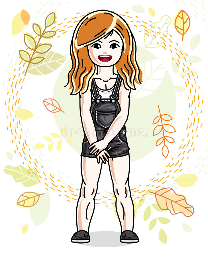Pretty little redhead girl standing on background of autumn land. Scape and wearing different casual clothes. Vector pretty nice human illustration. Fashion vector illustration