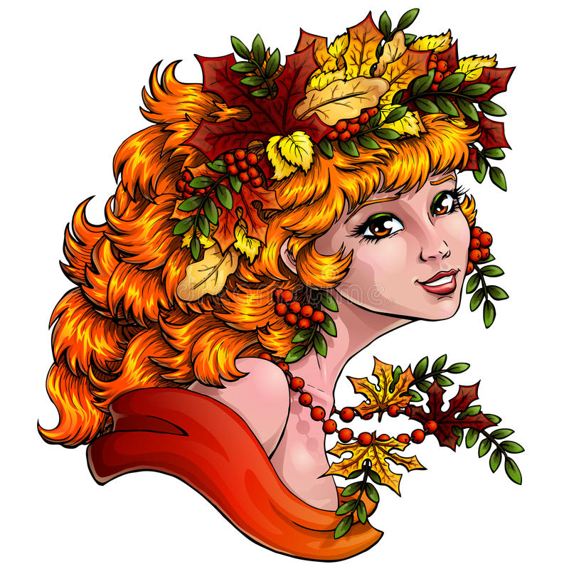 Season girl autumn color on blue hor. The lovely red girl with a wreath from leaves and berries of a mountain ash on white background. Concept of autumn mood vector illustration
