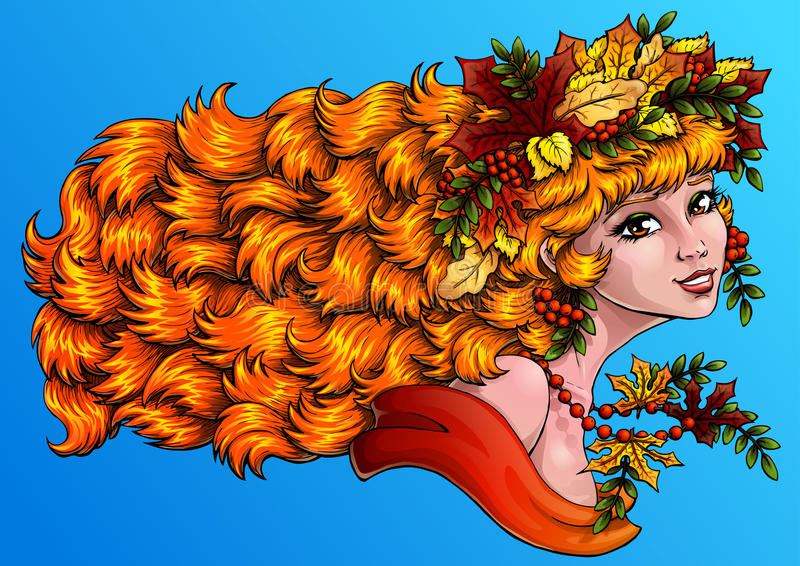 Seazon girl autumn color on blue hor. The lovely red girl with a wreath from leaves and berries of a mountain ash on blue background. Concept of autumn mood royalty free illustration