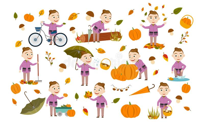 Set boy with fashionable hairstyle in an autumn jacket plays with leaves, launches a paper boat, rides a bicycle, carries pumpkins. And has fun in the fall royalty free illustration