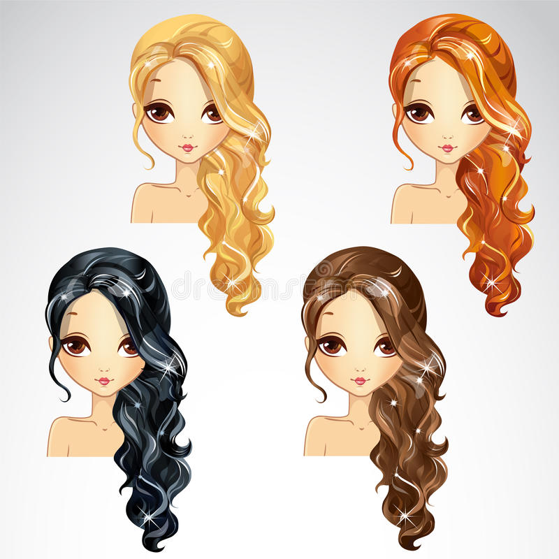 Set Of Curly Long Hair vector illustration