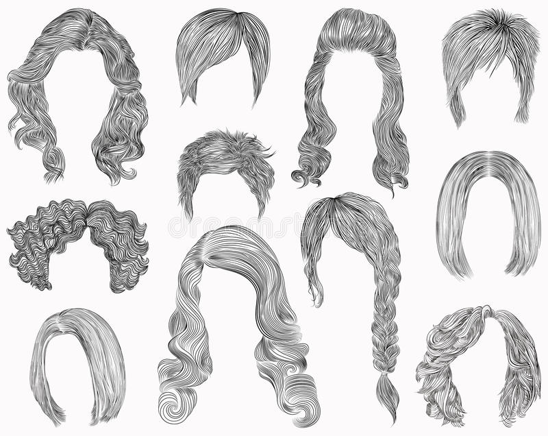 Set of different hairs and hairstyle .fringe curly cascade kare. pencil drawing . sketch . Set of different hairs and hairstyle .fringe curly cascade kare royalty free illustration