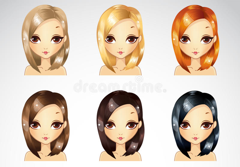 Set Of Glamur Straight Hairstyle royalty free illustration